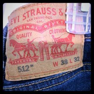 Men's 512 38/32 slim taper jeans-blue heart